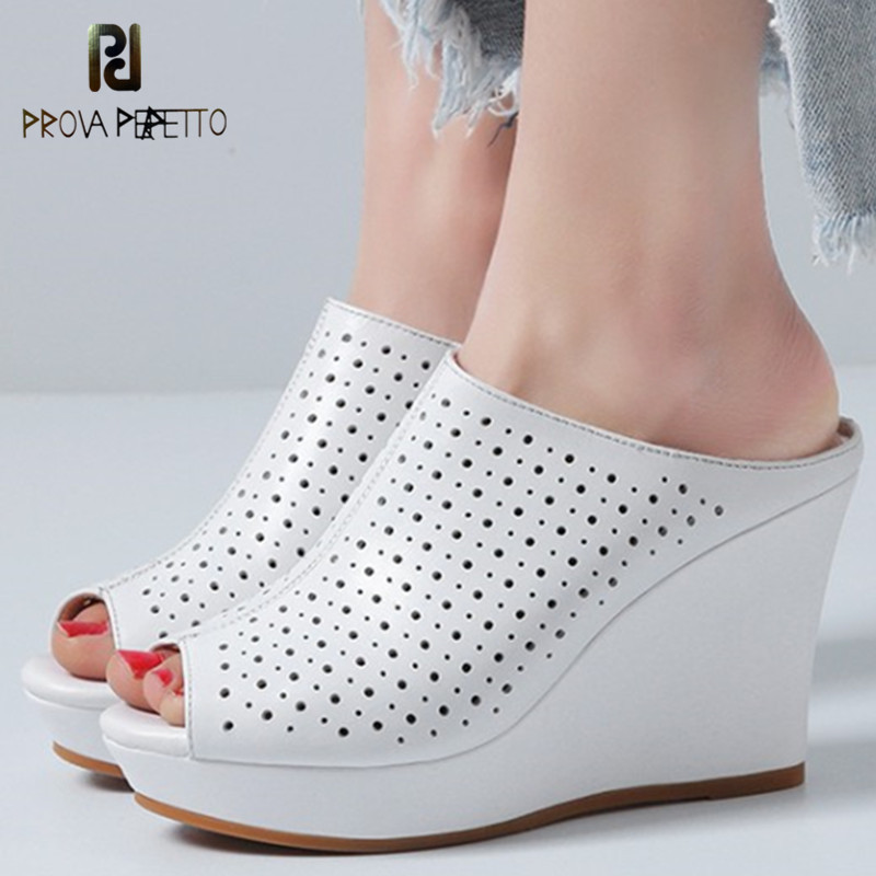 Prova Perfetto New Wedge Slippers Women Hollow Out Fish Head Shoes Woman Real Leather High Heels Slippers Summer Wedge Shoes 2017 new summer shoes woman slippers cozy leather classic slippers designer woman outside slippers tide woman shoes slippers