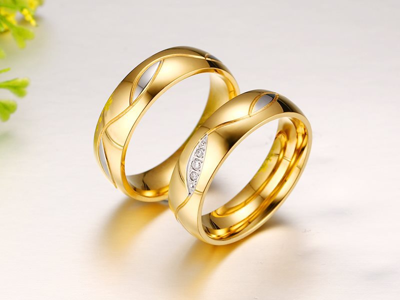 aliexpresscom buy high quality couple rings for women men cubic zirconia wedding ring plated stainless steel female jewelry from reliable jewelry plug - Gold Wedding Rings For Women