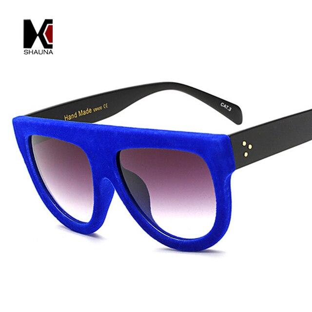 0d7c895188 SHAUNA Classic Flat Top Velvet Frame Women Cat Eye Sunglasses Brand  Designer Retro Shield Gradient Lens Glasses