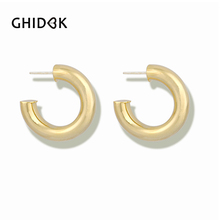 0658c5c5f GHIDBK Bohemia 30mm Thick C Shaped Hoop Earrings for Women Chunky  Minimalist Metal Hoops Gold Silver