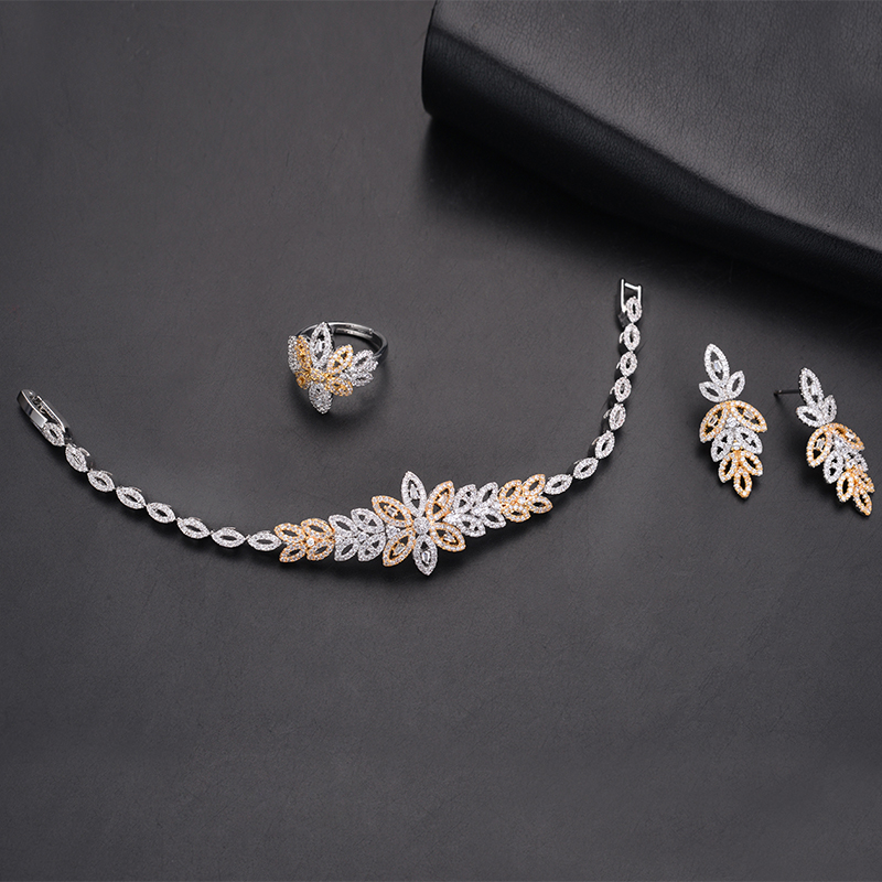 Jewelry Sets HADIYANA Leaves Design Crystal Bridal African Rhinestone Necklace Sets Engagement High Quality CN1158 Bisuteria