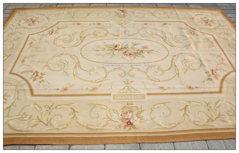 2x3m wool hand woven shabby chic french style aubusson area rug carpet beige ivory in rug from. Black Bedroom Furniture Sets. Home Design Ideas