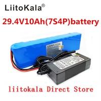 Liitokala DC 24 V 10ah baterias 7S4P 15A BMS 250 W Bateria 29.4 mAh 10000 V para o motor cadeira conjunto carregador de Energia elétrica + 29.4 V 2A|Pacotes de bateria|   -