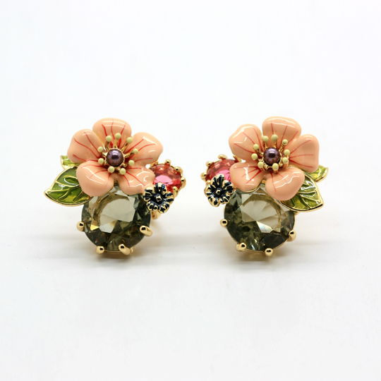 European fashion jewelry  les nereides flower and bird crystal stud/clasp earrings party jewelry  -Free Shipping