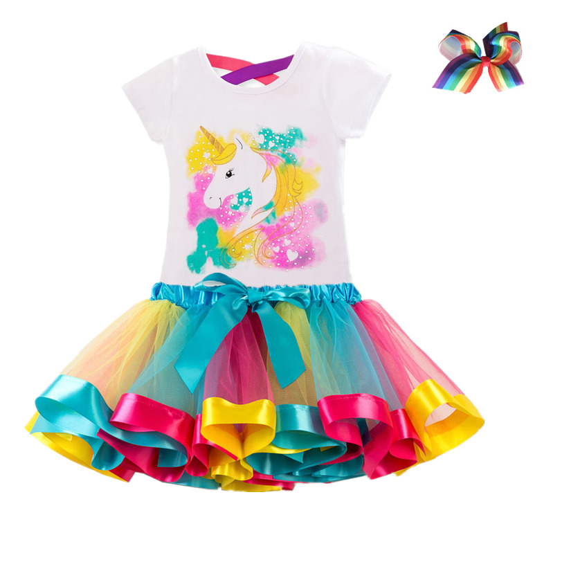 Baby Kids Girls Summer Unicorn Tops Tulle Skirt Dress Princess Party Outfits Set