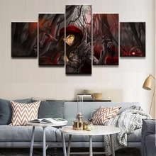 5 Panel Demon Hunter Diablo III Role Modular Picture Wall Art Home Decor Bedroom Canvas Print Wall Picture Printing On Canvas цена