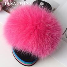 ISSACOCO Womens Winter Furry Slippers Indoor Warm Fox Fur Solid Fluffy Plush Shoes Women Flip Flops Sandals