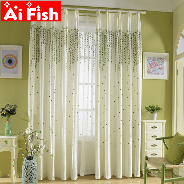 Green Weeping Willow Thermal Insulation Curtains For Living Room ...