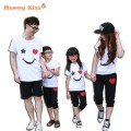 2017 New Family Look White Cotton T Shirts+Black Pants, summer style Family Matching Clothes Father & Mother & Kids Outfits k20