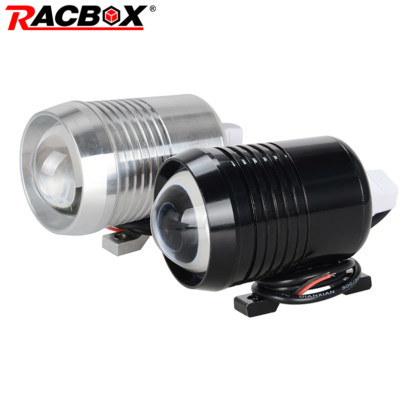 RACBOX 30W U2 Motorcycle LED Headlight Driving Fog Lamp Bulb Flash Light With Projector Lens Motorbike Bicycle ATV SUV Spotlight