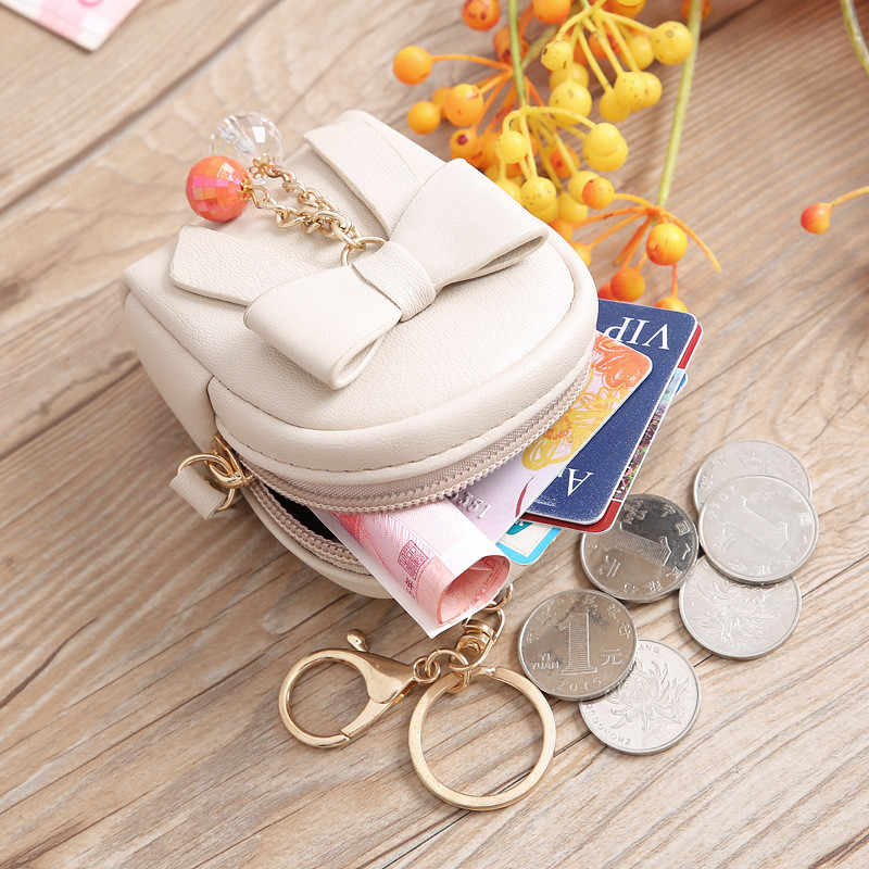 4 Colors Fashion Designer Brand Mini Money Bags PU Leather Credit Card Holder Key Tassel Coin Purses Keychain Bow Women Wallets