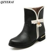 QZYERAI  Warm winter low heel bow tie snow boots female boots women shoes