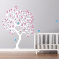 Wall Sticker Tree, Vinyl White Tree Wall Sticker, Modern Decoration Wall Decals Wall Stickers for Kids Nursery Rooms Home Decor
