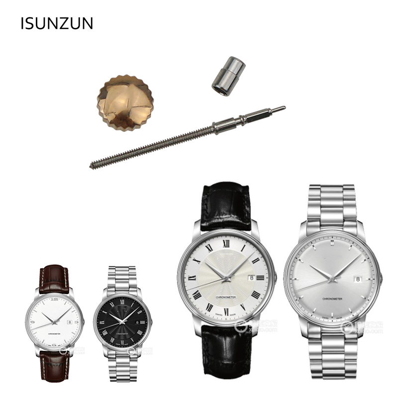 ISUNZUN Stainless Steel Watch Crown For MIDO M010 High Quality Waterproof Dome Flat Head Accessories Repair Tool With Tube
