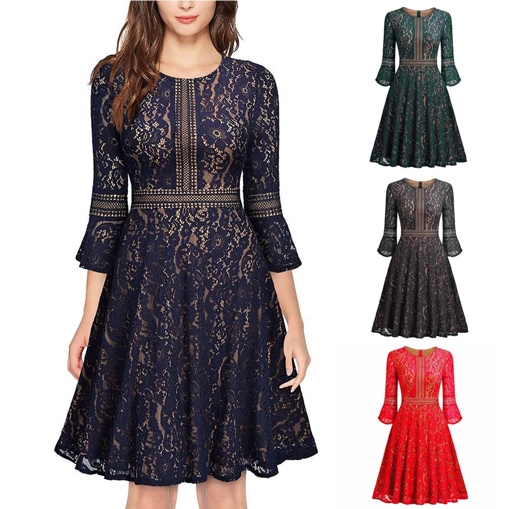 Fashion Vintage Women Tunic Lace Dress Robe Casual Rockabilly 3/4 Sleeves Swing Autumn Dresses FS99