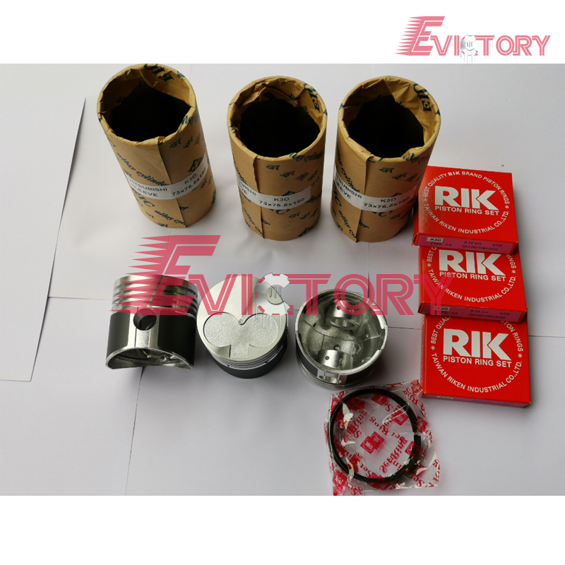 For Mitsubishi K3D rebuild kit piston + ring + liner+ bearing + gasket kit