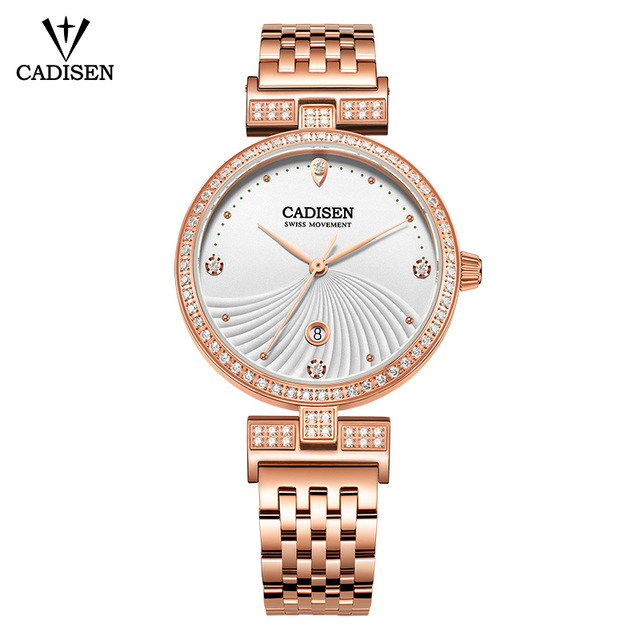 CADISEN Luxury Brand Fashion Quartz Watch Women Wristwatch Ladies Stainless Steel Bracelet Casual Clock Female Dress Watches duoya fashion luxury women gold watches casual bracelet wristwatch fabric rhinestone strap quartz ladies wrist watch clock