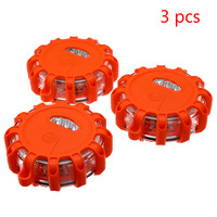 3Pcs LED Road Flares Emergency Red Safety Light Flashing Roadside Beacon Traffic Light Roadway Safety