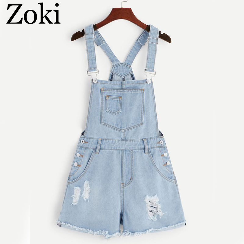 Zoki Denim Women Playsuit Summer Vintage Hole Tassel Female Suspenders Overalls With Pockets Casual Solid Pure Cotton Rompers