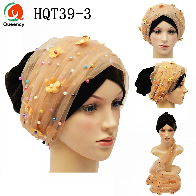 Turban Head Wrap avec dentelle pierres