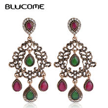 Blucome 2018 New Vintage Style Flower Long Pendant Earrings Alloy Resin Women Girl Wedding Party Dress Accessories Gift Jewelry(China)
