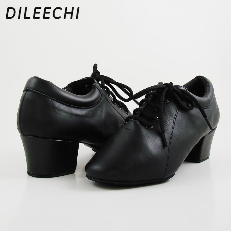 DILEECHI new Black Genuine leather Men s Latin dance shoes heel 4 5CM Size 28 46