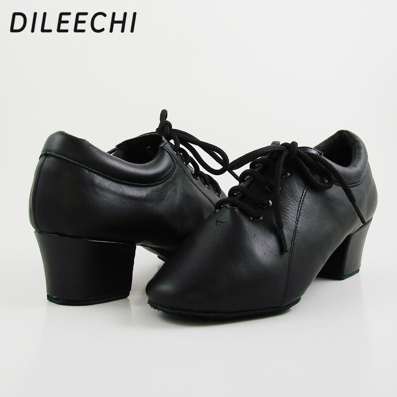 DILEECHI new Black Genuine leather Men's Latin dance shoes heel 4.5CM Size 28 46 Ballroom Dancing Shoes Customized large size-in Dance shoes from Sports & Entertainment    1