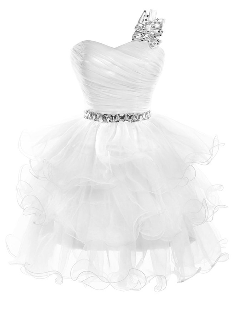 Black dress under white graduation gown - Cheap Short Homecoming Dresses One Shoulder 2016 Free Shipping Vestidos De Coctel Cortos Baratos Cute White