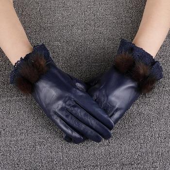 Fashion Sheepskin Gloves Female Genuine Leather Women Gloves Autumn Winter Thicken Plush Lined Wrist Lace Five Fingers Gloves david friedrich strauß der alte und der neue glaube