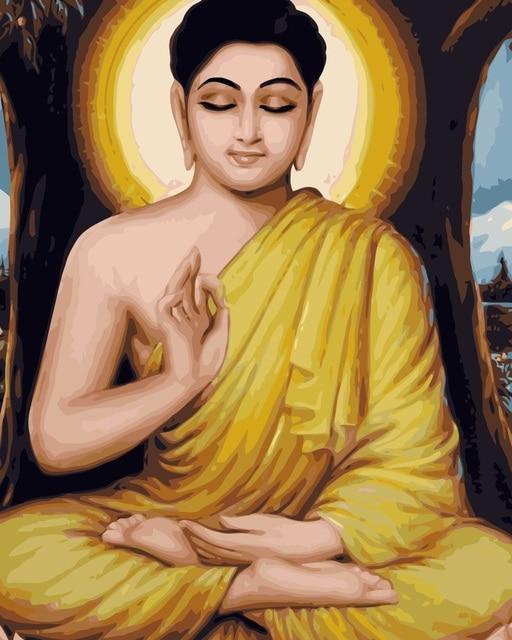J010 Buddha Lukisan Tangan Dicat Potret Lukisan Mewarnai By Numbers