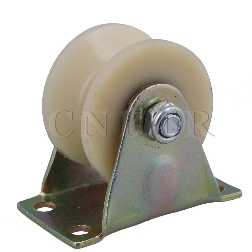 CNBTR 2 Dia Beige 45# Steel Nylon Groove Fixed Caster Track Roller Wheel Top Plate Load 150KG for Industrial Machine Tool objective pet workbook with answers