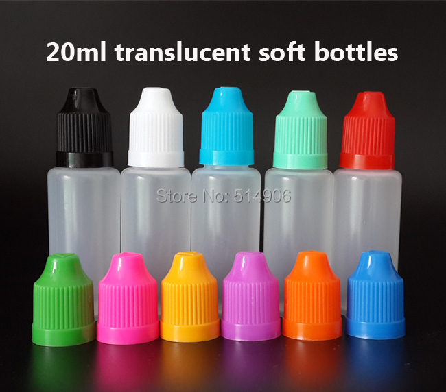 20ml PE Soft Plastic Dropper Bottle With Colorful Cap and long fine Tips for E Oil