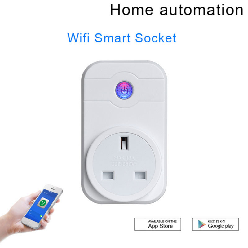 Newest Smart Plug Wifi Wireless Phone App Remote Controlled Outlet Timing Function On/Off Home Socket Adapter US/EU/UK Plug-- J