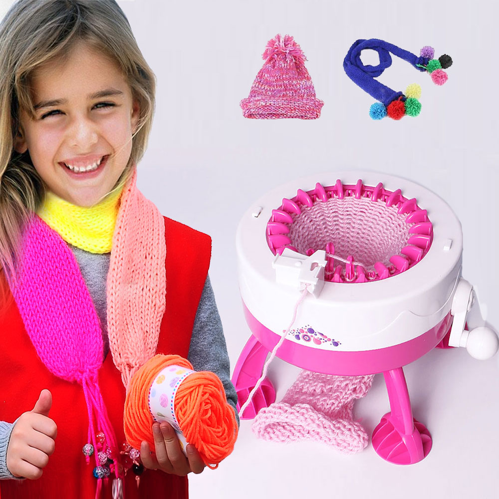 Girl Hand Knitting Machine Weaving Loom Knit DIY Scarf Hat Yarn Machine Children Apparel DIY Hand Tools Educational Toys