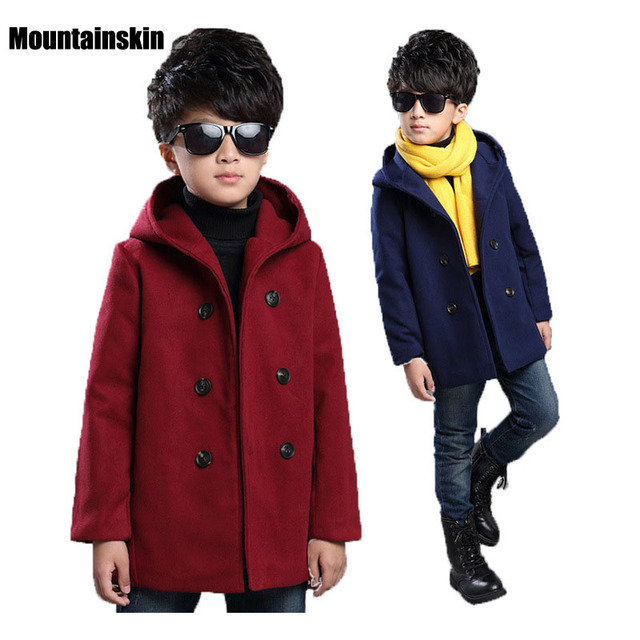 2016 Winter Fashion Boys Solid Tweeds Hooded Coats 6-13Y Children's Double Breasted Long Trench Kids Brand Thermal Clothes SC647