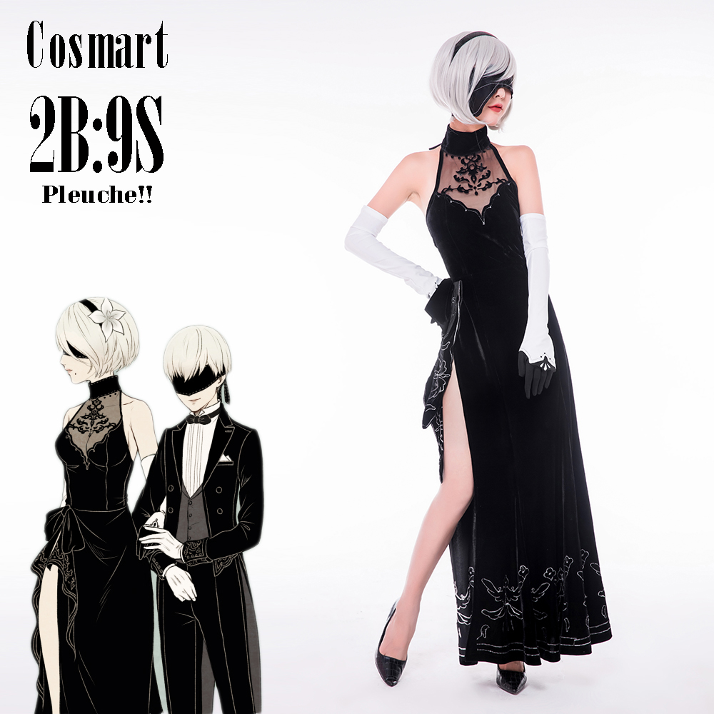 [Customize]Pleuche Made!Game NieR Automata figure 2B 9S CP Cheongsam Party Dress Swallowtail Uniform Halloween Cosplay costume