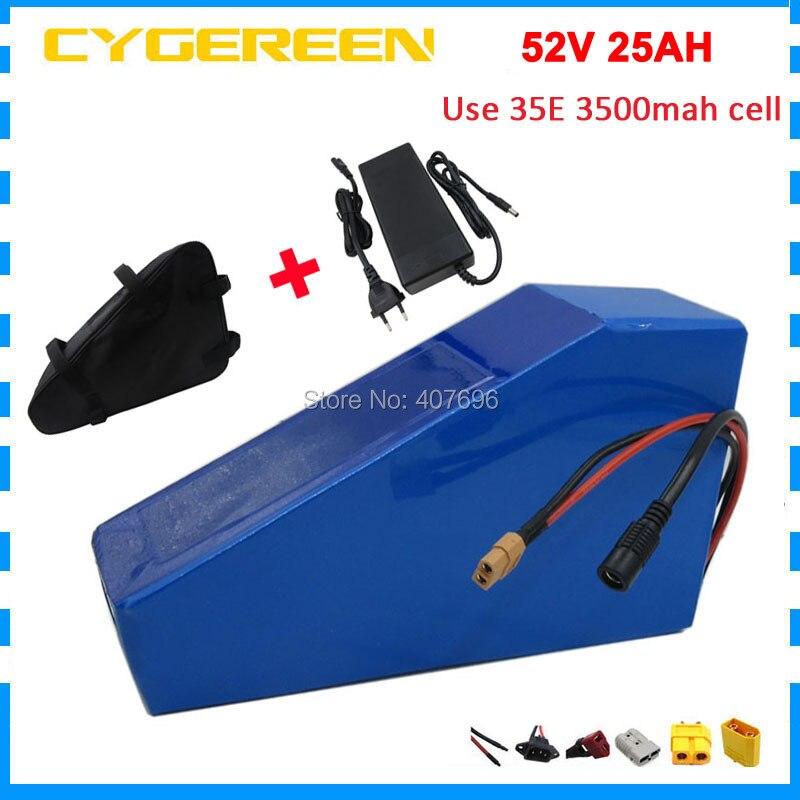 2000W 52V 25AH Triangle batterie 52V EBIKE batterie 51.8V 24.5AH lithium batterie utilisation 3500mah 35E cellule 50A BMS 2A chargeur