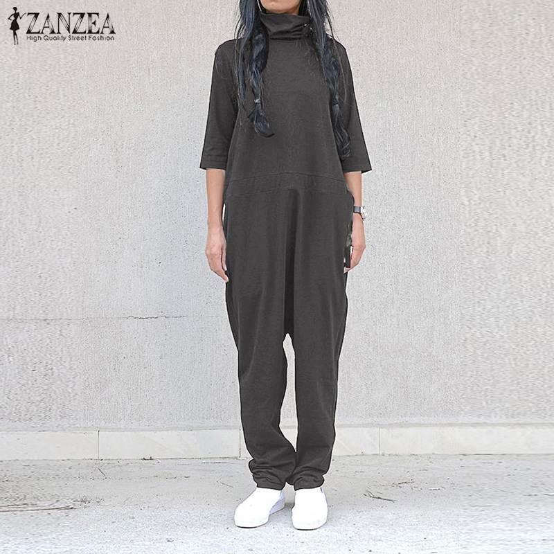 Plus Size Overalls Women's   Jumpsuits   2019 ZANZEA Vintage Cowl Neck Half Sleeve Playsuits Autumn Zipper Rompers Combinaison Femme