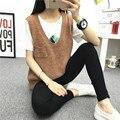 2016 Mujeres de La Manera Ocasional Otoño del Resorte Sin Mangas de Punto Chaleco Femenino Suéter Flojo Pullover Top Con Cuello En V Estilo Chica Estudiante