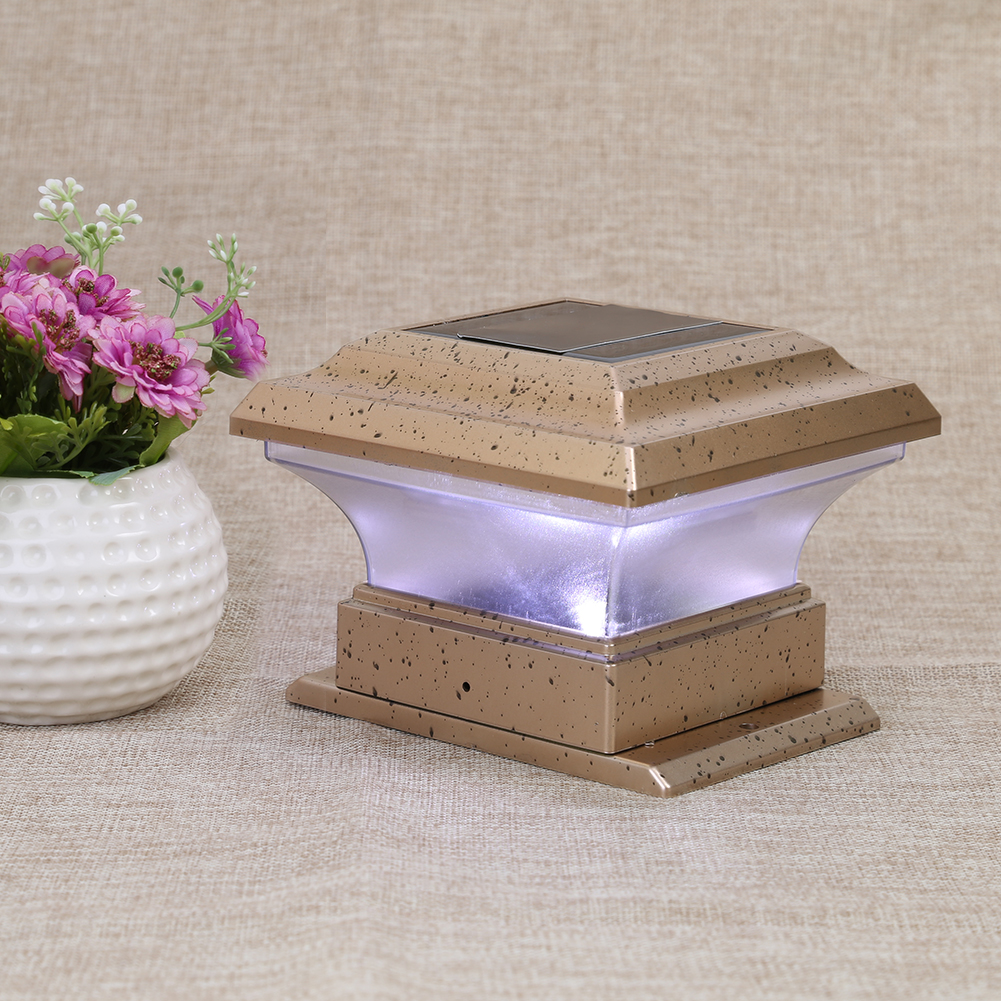 1pc Solar Powered LED Garden <font><b>Light</b></font> Waterproof Outdoor Pillar LED Solar <font><b>Lights</b></font> Lamp Court yard Fence Decoration Lamp White