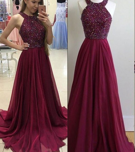 325538772d6 2019 Burgundy Chiffon Long Prom Dresses Sleeveless Heavily Beaded Top  A-line Teens Girls Sparkly Prom Party Gowns Custom Made