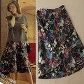 Lã Saia Longa Floral Impresso de Moda de Nova Outono Inverno Mulheres Saias de Cintura Alta Do Vintage