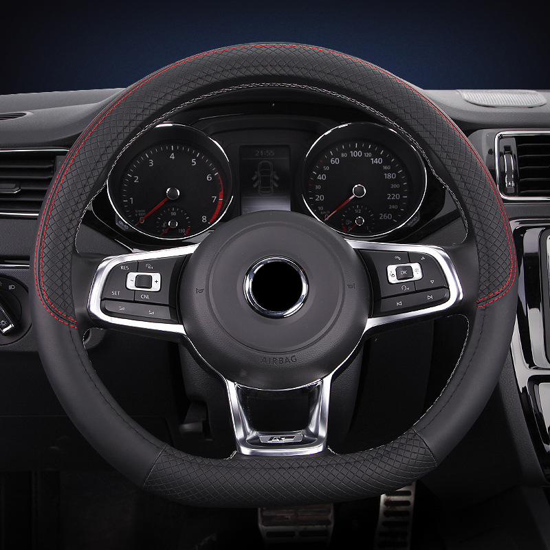 D Shape <font><b>Car</b></font> Steering <font><b>Wheel</b></font> Cover Microfiber Leather Embossed grain For VW GOLF 7 2015 POLO JETTA For <font><b>Kia</b></font> <font><b>Sportage</b></font> Optima K5 image