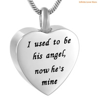 KLH9788 Wholesale Heart Cremation Urn Necklace Memorial Keepsake Jewelry Engraved I used to be his angel, now he is mine