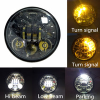 1pcs 5 75inch Motorcycle LED Headlight With Left And Right Turn Signal High LED Chips HI