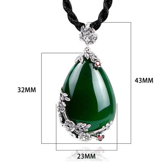 Jiashuntai retro 100% 925 prata esterlina real natural vermelho granada calcedônia ágata gemstone pingente colar jóias para mulher