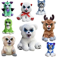 Feisty Pets Change Face Plush Bear Monkey Unicorn Dog Bunny Cats Stuffed Animals Plush Toys