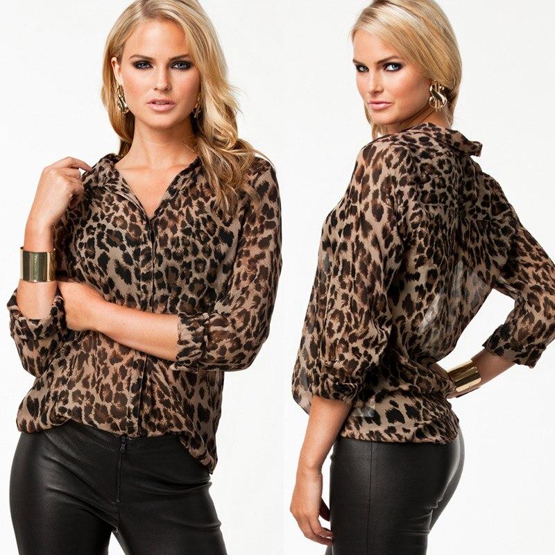 imc modelos de invierno leopardo salvaje de la gasa de las mujeres camisas casuales blusa camisa