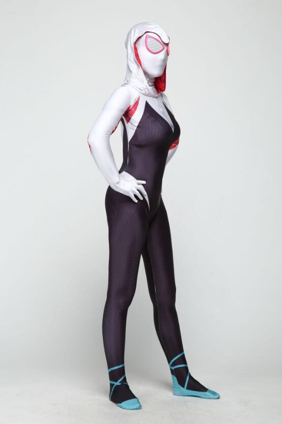 Spider Gwen Stacy Cosplay Costume 3D Print Venom Zentai Spandex Suit Spiderman Women Gwenom Bodysuit Adult/Kids/Custom made