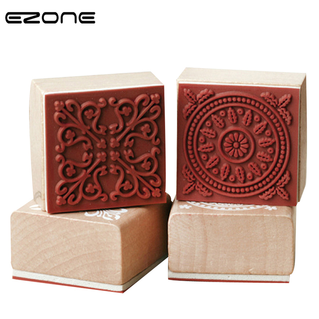 bc72bb9151 US $1.59 20% OFF|EZONE Vintage Badge 6 Patterns Square Floral Flower Wooden  Rubber Stamp For Scrapbooking Decorative DIY Craft Student Stationery-in ...